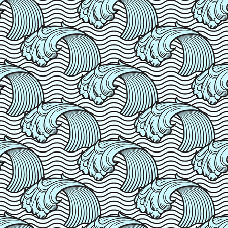 Seamless pattern with waves, sea background, vector