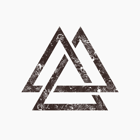 Drie in elkaar grijpende driehoeken, grunge achtergrond, vector illustratie Stock Illustratie