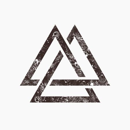 interlocking: Three interlocking triangles, grunge background, vector illustration Illustration