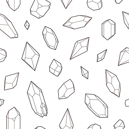Crystals, seamless pattern, vector illustration, line design
