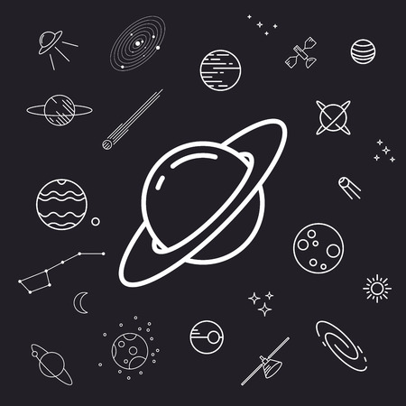 planet earth: Space icon set, planets, vector illustration, un-expanded strokes Illustration