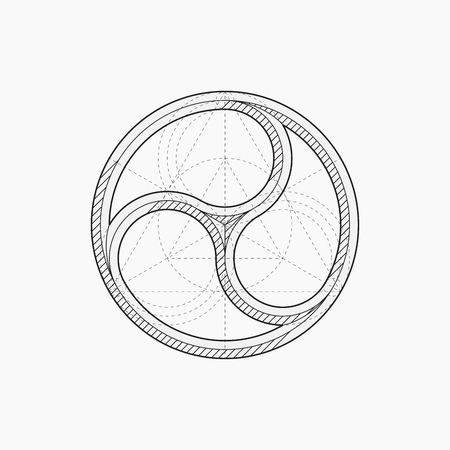 round window: Gothic circle window, vector illustration, un-expanded strokes