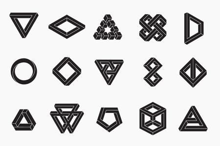 Conjunto de formas imposibles, vector, trazos un-expandido, 10 EPS Ilustración de vector
