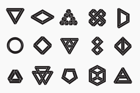Set of impossible shapes, vector, un-expanded strokes, EPS 10