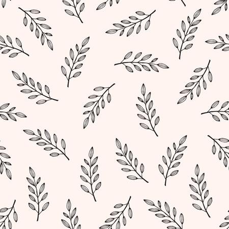 Texture florale dessiné main abstraite sans soudure, laisse motif, illustration vectorielle Vecteurs