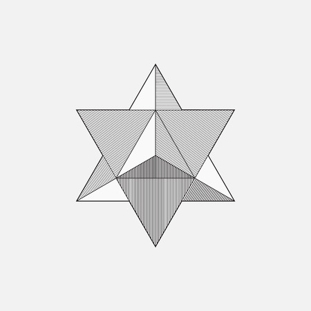 Merkaba, geometric shape, line design, triangle, vector illustration