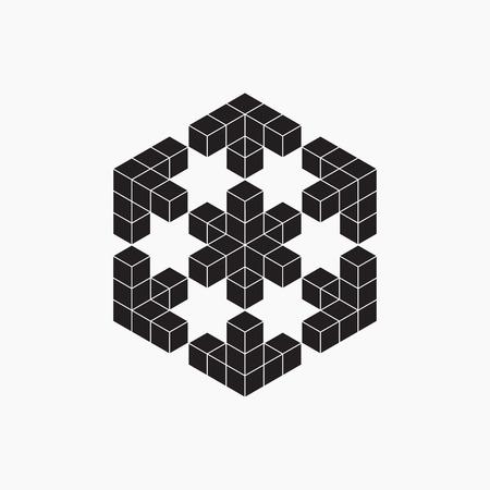 cubo: ilusión óptica, cubo, elemento geométrico, ilustración vectorial