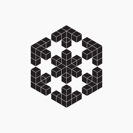 geometric lines: Optical illusion, cube, geometric element, vector illustration