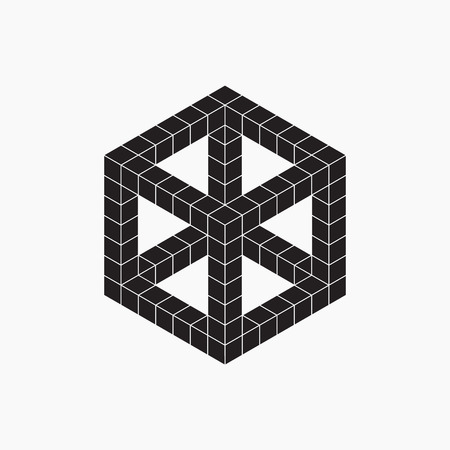 Cube, vector illustration, black and white