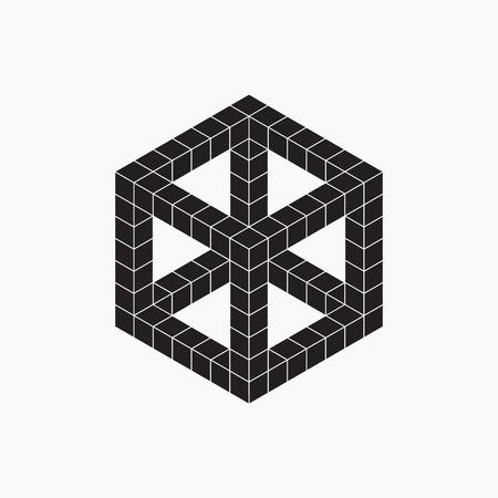escher: Cube, vector illustration, black and white