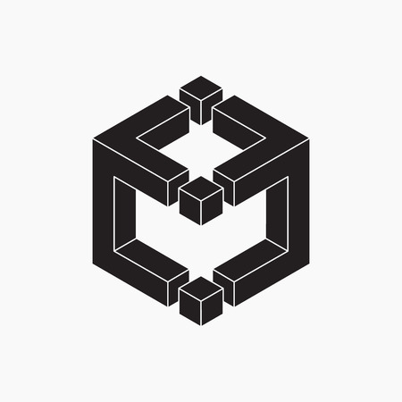 illusion: Cube, vector illustration, black and white, optical illusion Illustration