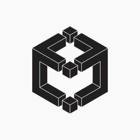 cubo: Cubo, ilustración vectorial, blanco y negro, ilusión óptica Vectores