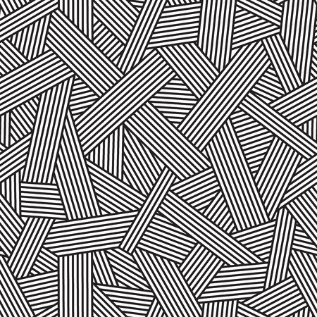 Black and white seamless pattern, geometric background with interweaving lines, vector illustration Çizim