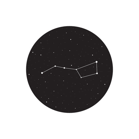 dipper: Big dipper constellation, Ursa major, vector illustration