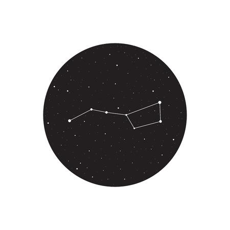 ursa: Big dipper constellation, Ursa major, vector illustration