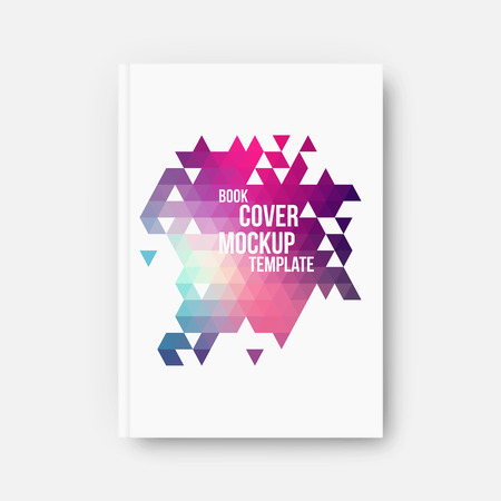 Book cover, mockup template, vector illustration with abstract geometric background