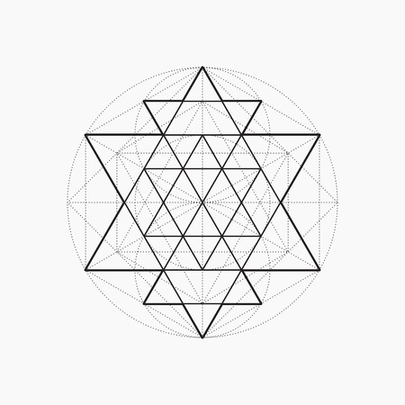 Geometric shapes, line design, triangle, sacred geometry, abstract symbol of the constitution of man, vector illustration