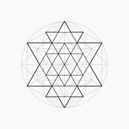 Formes géométriques, conception de la ligne, triangle, la géométrie sacrée, symbole abstrait de la constitution de l'homme, illustration vectorielle Vecteurs