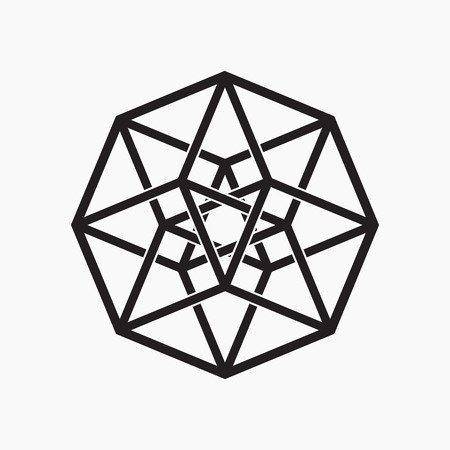 Hypercube, geometric element, black and white, vector illustration Vettoriali