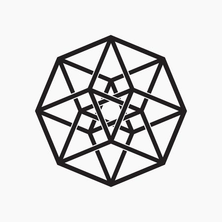 Hypercube, geometrisch element, zwart en wit, vector illustratie