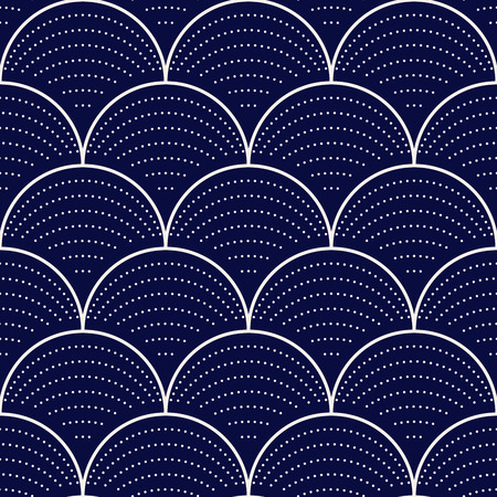 Japanese wave seamless pattern, vector illustration
