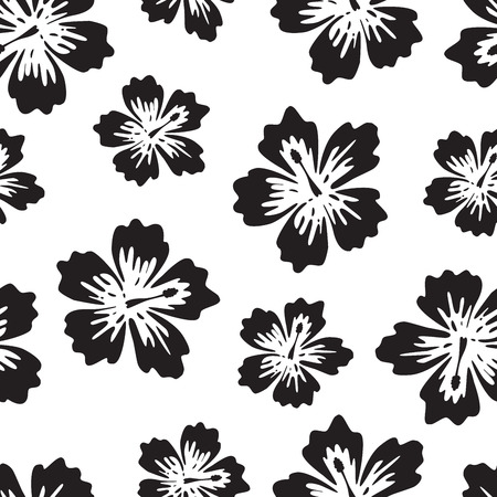 Black and white background with tropical flower, Red Hibiscus, seamless pattern