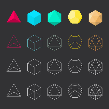 solids: Platonic solids, vector illustration, line design