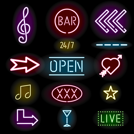 heart sign: Glowing neon signs, icon set, vector illustration