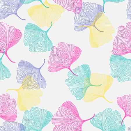 ginkgo: Ginkgo biloba leaf, seamless pattern, vector illustration