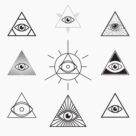 All seeing eye symbol, vector set Illustration