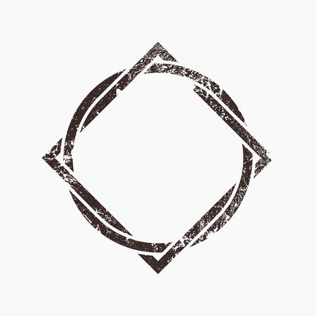 interlocking: Interlocking circle and square, grunge design, vector illustration Illustration