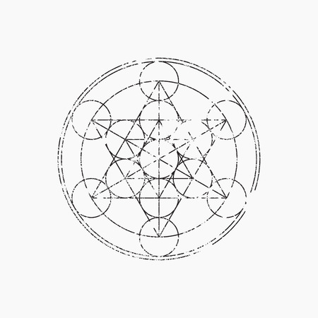 Cube of Metatron, geometric symbol, vector illustration, grunge design