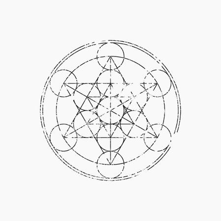 Cube of Metatron, geometric symbol, vector illustration, grunge design