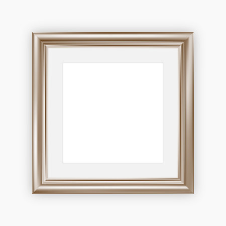 pictures: Metallic picture frame with mount, vector illustration, square format