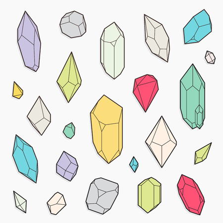 diamond shape: Set of vector crystal shapes, line design