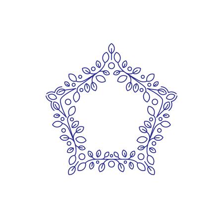 Floral vector frame, star shape, line design