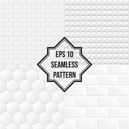 セラミック タイルの背景は白い。シームレス パターン。  イラスト・ベクター素材