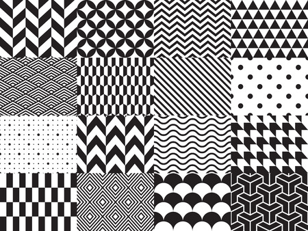 Set of geometric background. Seamless pattern. illustration, black and white