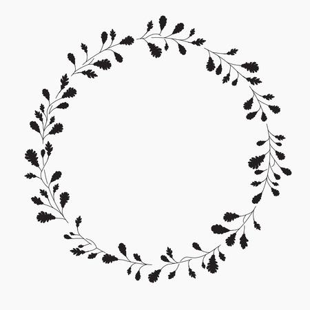 oak wreath: Wreath with leaves, illustration. Oak leaves Illustration
