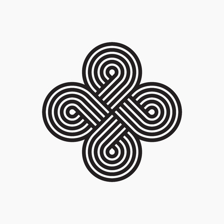 intertwined: Twisted lines. Intertwined pattern. Line design. Abstract cloverleaf Illustration