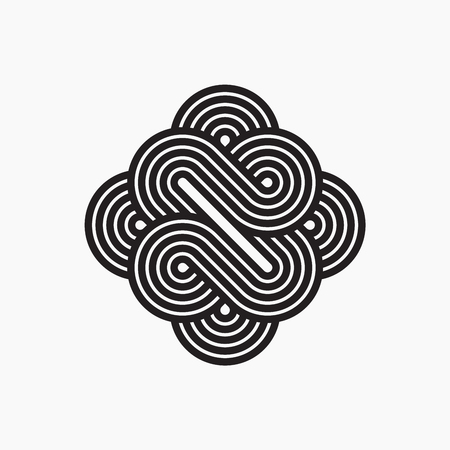intertwined: Intertwined symbol, stripy line art. Illustration