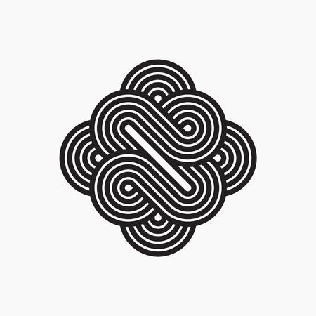 nudos: símbolo entrelazado, arte lineal rayada.