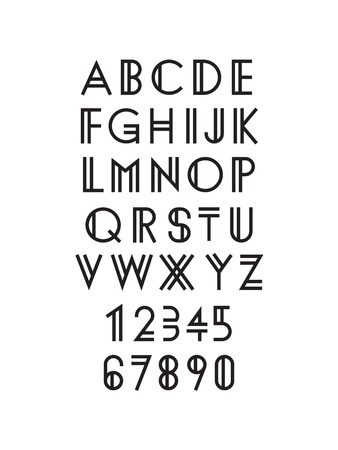 typeface: Modern geometric font, typeface design Illustration
