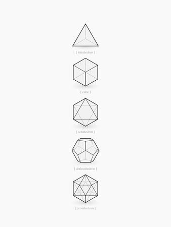 Platonic solids, line design 矢量图像