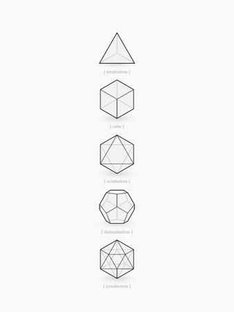 Platonische lichamen, line design Stock Illustratie