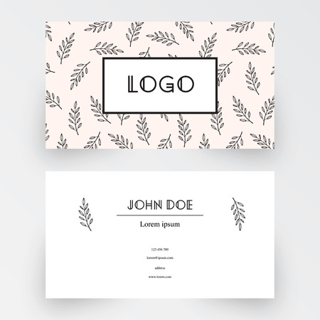 business card template: Business card template with floral background Illustration