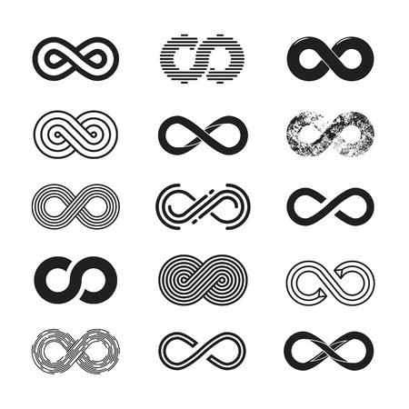 Infinity symbool, vector set. Geïsoleerd op een witte achtergrond. EPS 10 Vector Illustratie