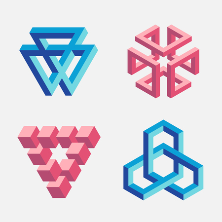 Set of impossible objects, triangles and cubes. Vector illustration, EPS 10. Isolated on white background.