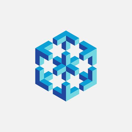 mobius symbol: Colorful impossible cube, web design element. Vector illustration