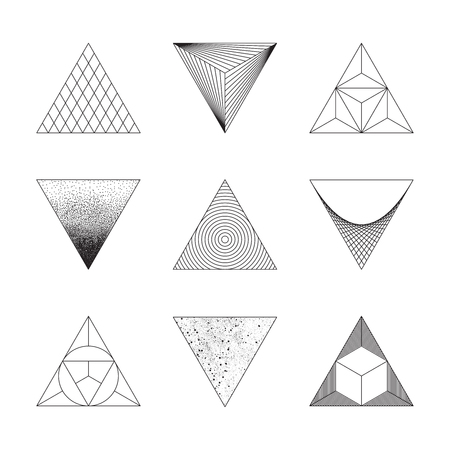 shape triangle: Set of triangles. Design elements. Line design, un-expanded strokes. Vector illustration EPS 10 Illustration